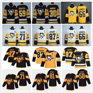 Jeunes hommes Lady Penguins de Pittsburgh Sidney Crosby 87 Evgeni Malkin Stade Kris Letang Jake Guentzel Murray Hornqvist Lemieux Hockey Maillots