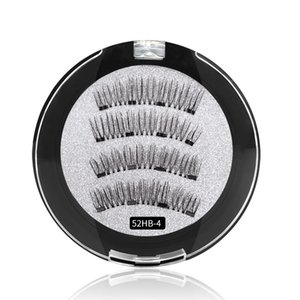 Newest reusable magnetic lashes 4 magnets false eyelashes hand-made natural synethic hair fake lashes DHL Free