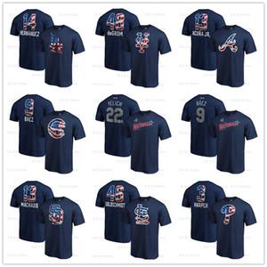 Bryce 3 Harper 22 Christian Yelich Freddie 5 Freeman 2019 Stelle Stripes Banner Wave Nome Numero T-Shirt uomo designer Fan Tops Tees stampato