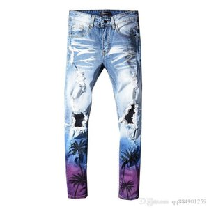 2019 New Gradient Washed Hole Thin Distressed Ripped Skinny Jeans Fashion Designer Mens Jeans Slim Causal Mens Denim Pants Size 28-40