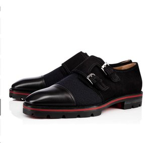Leisure Gentleman Leather Flats Shoes Red Bottom Oxfords Loafers Luxurious Moccasin Tire Rubber Soles Genuine Leather With Buckle Wedding