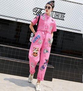 2020 Printemps Automne Femmes Rose Denim Jumpsuit Cartoon Paillettes Denim Pantalons Jumpsuit Appliques longues Total Hipster Jeans barboteuses w789