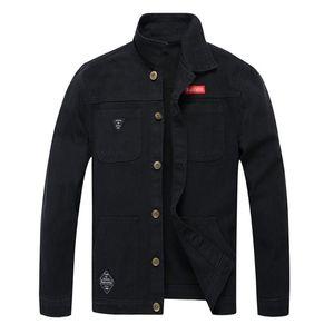 Yeni Erkek Ceket Sonbahar Kış Casual Uzun Kollu Yaka Kamuflaj Denim Ceket Erkek Bluz Üst Overcoat Turn-down