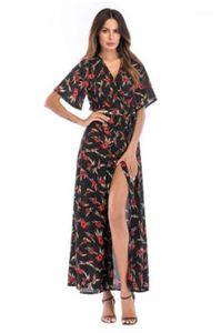 Robe d'été florale de Split Femmes Robes col en V profond robe à manches courtes en vrac Plage causales cool