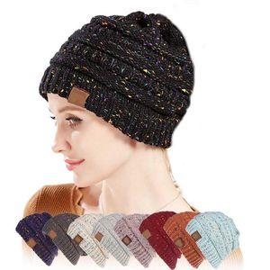 Etiketile 25 Renkler Konfeti Beanie İçin Kadınlar Tığ Örgü Cap Skullies Beanies Sıcak Caps Kadın Örgü Şık Şapka