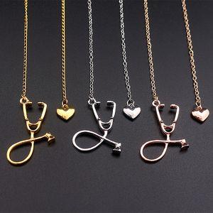 Mode Bijoux Designer médical Love Hearts Collier pendentif en métal Stethoscope Ecg clavicules Sautoirs Chain pour l'infirmière docteur Cadeaux
