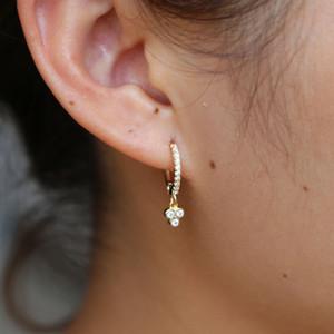 fascino all'ingrosso orecchino orecchini pendenti in argento sterling 925 design minimale oro vermeil mini cerchio cerchio con fascino nuovo orecchino