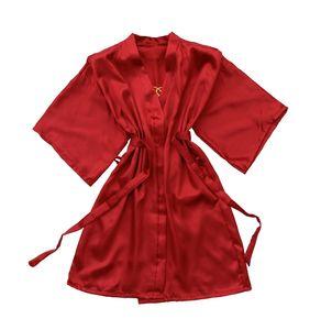 Shanghai historia de satén de las mujeres Kimono Robes corto sedoso Albornoz color puro del traje para la boda