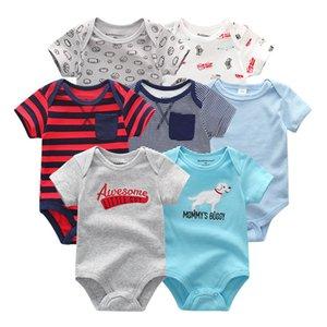 2019 7PCS / lot bebê recém-nascido roupa da menina Roupa do bebé Cotton Unicorn Bodysuits Jumpsuit Ropa bebe manga curta Black White