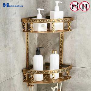 Nail gratuito Estantes Baño 2 capa de metal antiguo ducha de esquina del estante de montaje en pared Champú Estante de almacenamiento