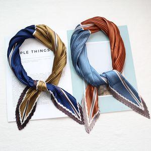 Bolso de mano de las mujeres de pelo multifuncional impreso patchwork arruga foulard pañuelo de raso plisado pañuelo de seda cuadrada pañuelo