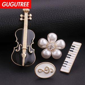 GUGUTREE Broche breastpin patch note piano violon fleur perle métal patches badges pour les vêtements patches appliques HH-38