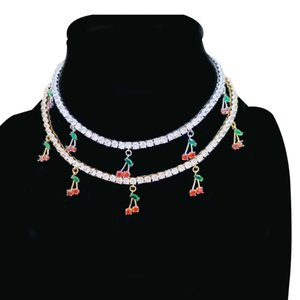 new arrived cz tennis chain necklaces with cherry charm paved Elegant Choker Necklace Luxury Chain Necklace Jewelry Gifts