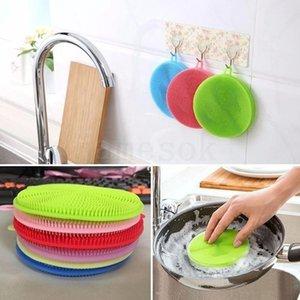 Çok işlevli renkli silikon bulaşık fırça Mutfak ev çift taraflı temizleme fırçası bulaşık bezi atım olmayan sti DHA176