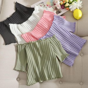 Pearl Diary Women Summer Off Shoulder Knit T-Shirt Solid Short Sleeve Top Going Out Sexy Short Top Skinny Casual Crop