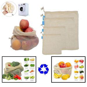 Malha de Algodão reutilizável Sacos de Compras De Produtos Alimentares Sacos De Frutas Vegetais Mão Totes Resable Home Bolsa De Armazenamento Bolsa de Cordão HH7-1925