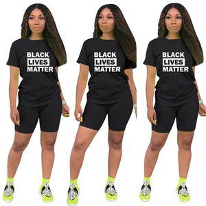 8colors Kadınlar Şort Eşofman Siyah Hayatlar Matter mektup Baskılı İki Adet Set tişört + Şort Kıyafetler Yaz Spor Suit Tees GGA3503