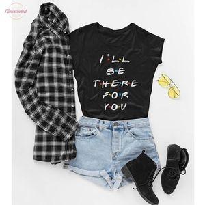 PUDO-XSXFriends de televisión de la camiseta de la enfermedad esté allí para usted impresión de la letra Lunoakvo camisa Amigos camiseta de manga corta para mujer Top