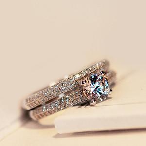 2PCS مجموعة / لتر Bamos فاخر أنثى الزفاف الأبيض خاتم الزفاف مجموعة أزياء 925 الفضة والمجوهرات معبأ وعد CZ ستون خواتم الخطبة للنساء