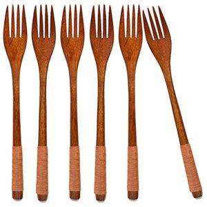 Solid Wood Fork for Desserts, Chips, Snacks, Cereal, Salad, Fruit, Decoration,Handmade with Phoebe Wood, Long Handle string wrap