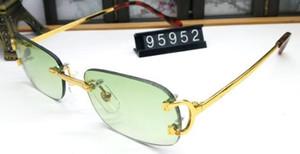 2019 Square Glasses Buffalo Horn Kunststoff Glas Gold Slive Metallbeine Sonnenbrille Designer Best Quality randlose Brille mit Box