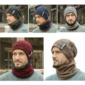 2pcs Knitting Hat Scarf Set Mens Solid Color Arctic Velvet Thicken Warm Cap Scarves Male Winter Outdoor Accessories Hat And Scarf VT0676