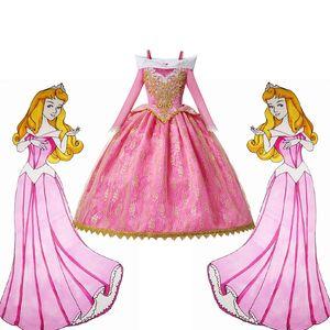 Rosa Meninas de luxo Princesa Costume Long Sleeve Dormir Pageant Partido Beleza vestido Crianças Fancy Dress Up Frocks Para a festa de aniversário