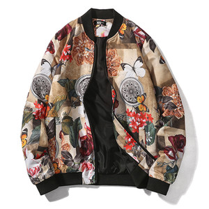 Bahar moda Bombacı ceket erkekler baskılı desen Mont Pilot ceketler erkek Sokak Beyzbol ceket Hip Hop artı boyutu Tops erkek 5XL