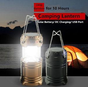 Retro telescopico Camping Lanterna solare ricaricabile Campo luce portatile Suspensible Lampada con costruito in batteria al litio da esterno cavallo Luci