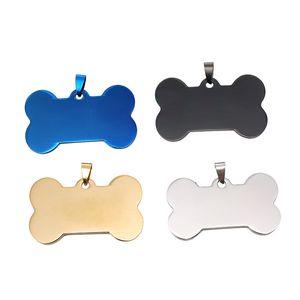 Forma ossea Personalizzata Dog Tag Pet Dog Metallo Blank Tag In Acciaio Inox Double Sided ID Carta d'identità militare Pet Blank Blank Etichette BH2842 TQQ