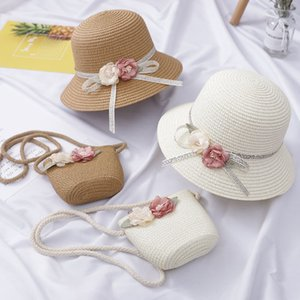Flor de la manera niños sombreros de Sun linda chica Bolsas traje de verano la playa de sombreros de paja para protección UV chica Sun Hat para 2-6 años