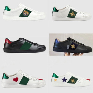 Deportes clásicos zapatos de los hombres de las mujeres de lujo del diseñador 100% suave planas de cuero zapatos casuales zapatos de marca Pequeña abeja de los amantes blanco bordado 35-42-45