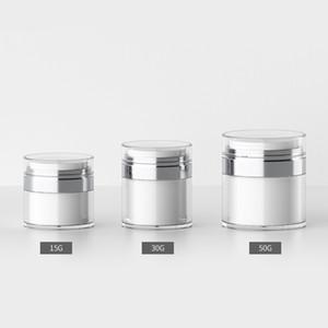 15G 30G 50G Cosmetic Jar Acrílico Creme recarregáveis Vacuum Bottle Imprensa Estilo Creme Jar Garrafas Airless Cosmetic Container