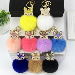Cute Rhinestone Fox Head Faux Rabbit Fur Ball Pom Pom Keychain for Car Key Ring Handbag Tote Bag Pendant