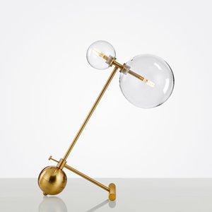 Semplicità moderna Gemelli lampadina da tavolo in vetro lampade decorative in rame soggiorno studio villa hotel scrivania luce