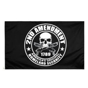 Freies Verschiffen auf Lager 3x5ft 90x150cm United State Flag mit der 2. Änderungs-Gewehr 1789 Schädel Dekoration Flagge