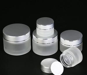 5g 10g 15g 20g 30g 50g de vidro fosco Cosmetic Jar frasco vazio Amostra Creme Lip Balm recipiente de armazenamento recarregáveis com prata Tampas DHL