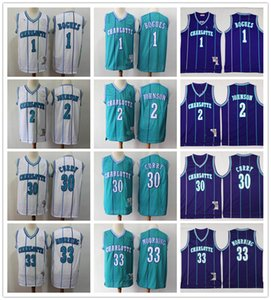 Mens Vintage Dell 30 Curry Ретро Bogues 1 Muggsy Alonzo 33 Траурных Ларри Джонсон 2 баскетбольных прошитая рубашка мужчин