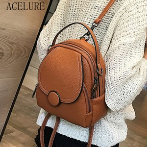 ACELURE Designer Fashion Women PU Leather Mini Backpack Soft Multi-Function Small Backpack Female Ladies School Bag Girl Student