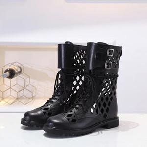 Frühling Herbst Designer Luxusmode-Frauen Damen schwarz REAL Leathe 6 Zoll klobigen Fersen westlichen Booties auf kurze Stiefeletten PULL
