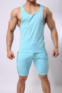 Hombres chándal sin mangas Condole cinturón de algodón 2 piezas Fitness Jogging O-cuello de verano chaleco transpirable trajes de secado rápido