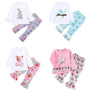 Crianças Meninas Páscoa roupas de bebê roupa Appliqued Coelho Birds florais Urso Impresso Ruffle Long Sleeve Tops Calças Roupa Define 2-6T