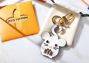 com caixa Unisex Luxo Keychain Bolsa Pingente Bolsas Carros Chains Key Rings para presentes mulheres de couro mulheres mouse Chaveiros K92 rato robô fox