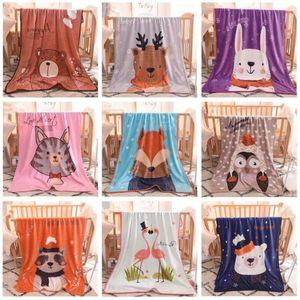 Bébé Couvertures Flanelle Cartoon emmailloter Imprimé animal Air Condition Couverture d'hiver doux lapin Literie Ours Fox Wrap Manta Draps C6977