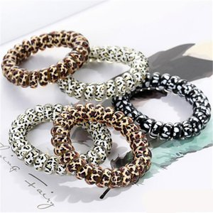 Women Telephone Wire Cord Gum Coil Hair Ties Girls Elastic Hair Bands Ring Rope Leopard Print Bracelet Stretchy Hair Ropes