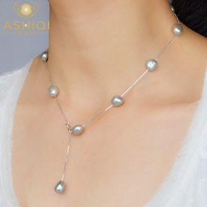 ASHIQI Real S925 стерлингового серебра натуральный пресноводный жемчуг кулон ожерелье серый белый 8-9 мм барокко жемчужные украшения для женщин