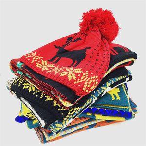 Moda Cappello Sciarpa Elk Imposta donna di Natale del fumetto Knit Beanie Cap Ragazze Crochet Sciarpe esterna riscaldata Partito Cappello TTA1846