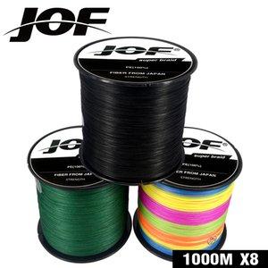 JOF 1000 메터 낚시 라인 8 가닥 PE 잉어 낚시 코드 Pesca 꼰 와이어 22-88LB Peche 9 색 강한 액세서리
