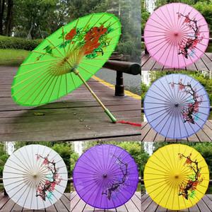82cm Diâmetro do papel chinês do guarda-chuva tradicional de seda Tecido Craft Umbrella punho de madeira casamento Artificial Oil Paper Umbrellas BH2164 CJT