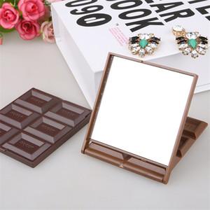 Nouveau Pliable mignon Mini miroir de maquillage biscuits au chocolat en forme de carré Miroir de poche en verre plastique femmes Lovely Girl